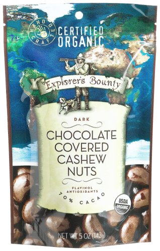 Explorer's Bounty Chocolate Covered Cashew Nuts,Dark, 5-Ounce Bag (Pack of 3)