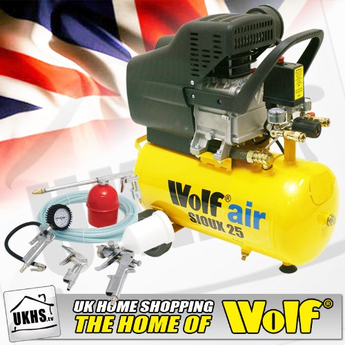 Wolf Sioux 24L, 2.5hp, 9.5cfm Air Compressor complete with 5pc Kit includes: 5m Air hose, Gravity feed spray gun, Tyre Inflator, Long nozzle sprayer/degreasing gun and Blow gun - READY TO GO!