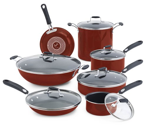Emeril by All-Clad E411SDDI Hard Enamel Nonstick Dishwasher / Oven Safe Cookware Set, 13-Piece, Red