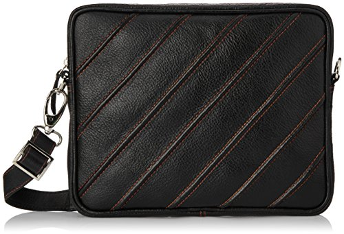 Tortoise Leather 20 liters Black Leather Messenger Ipad/Tablet Bags (TOR002SB)