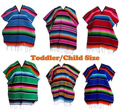 Toddler Girls Boys One Size Multi-Color Mexican Zarape Serape Poncho Folklorico by Leos Imports