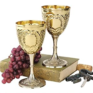 The King's Royal Chalice Embossed Brass Goblet