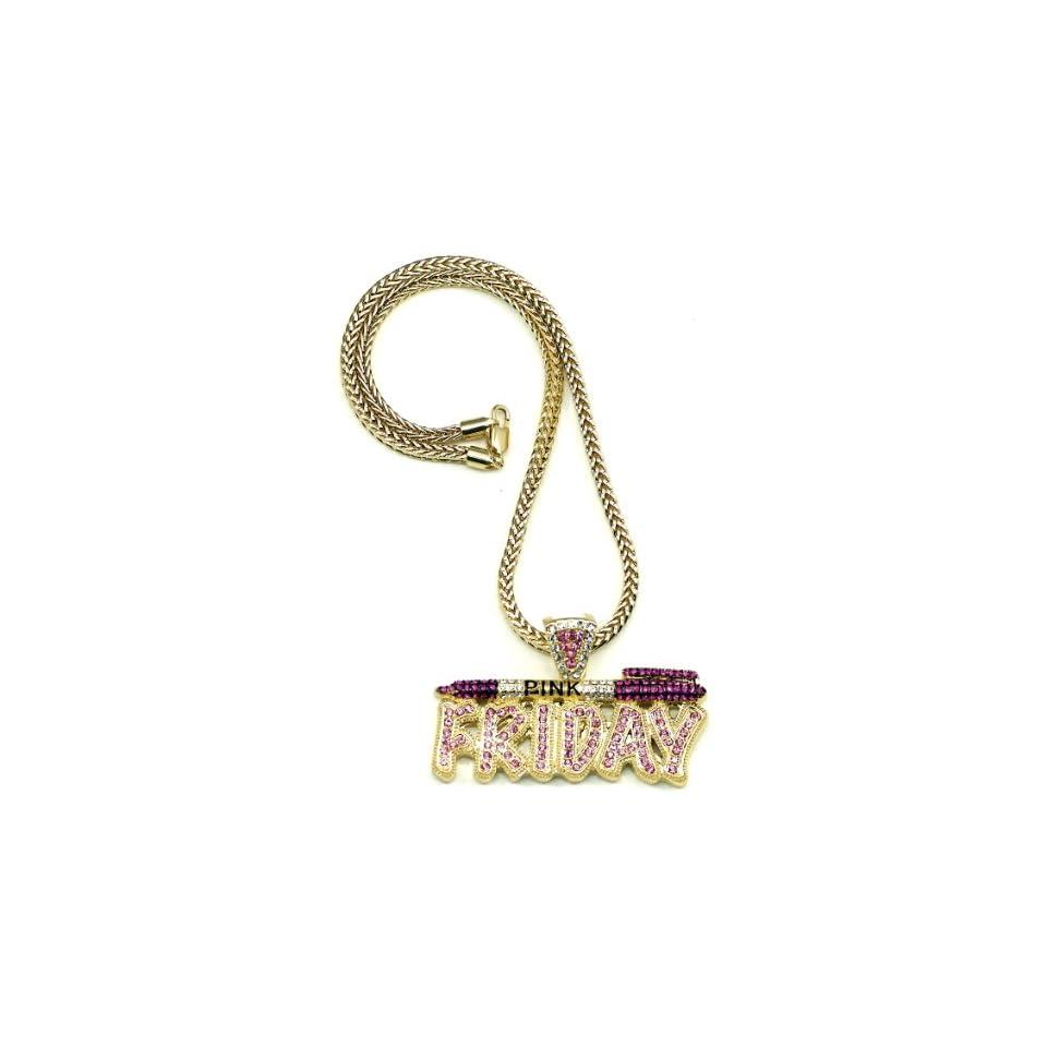 Pink Friday Nicki Minaj Necklace Gold and Pink Pendant