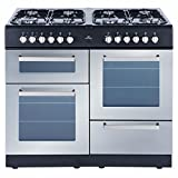 New World SPIRIT 100DFT SILVER 1000mm Dual Fuel Range Cooker 8 x Burners Silver