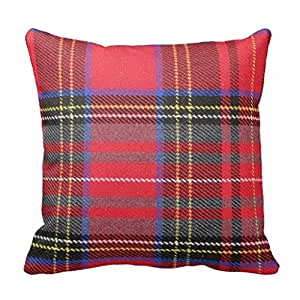 Red Plaid Throw Pillow Cover : Amazon.com - Red Tartan Plaid Throw Pillow Cover