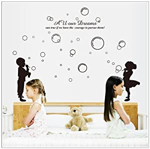 OneHouse All Our Dreams Can True Quote Children Blow Bubbles DIY Wall Decal from OneHouse