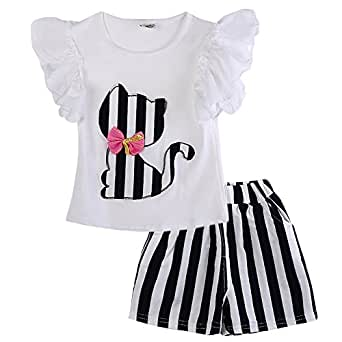 Baby Girls Short Sleeve Cat T-shirt Striped Shorts Outfit Set