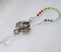 dragon suncatcher, car mirror charm, pewter dragon, dragon pendant, window hanger, rainbow dragon, crystal charm, prism, chakra, LGTB