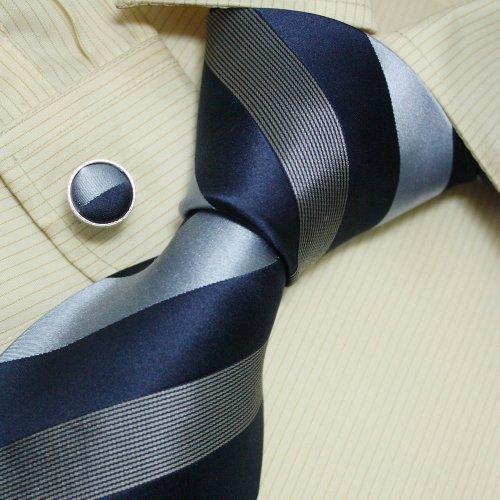 Navy Striped Men Wearing Ties Silver Stripes Gift Idea for Man Mens Style Silk Tie Cufflinks Set A1010