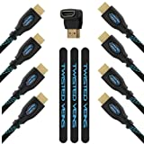 Twisted Veins High Speed HDMI Receiver Pack (includes Three 3 and One 10 cables) + Right Angle Adapter and Velcro Cable Ties (Latest Version Supports Ethernet, 3D, and Audio Return)