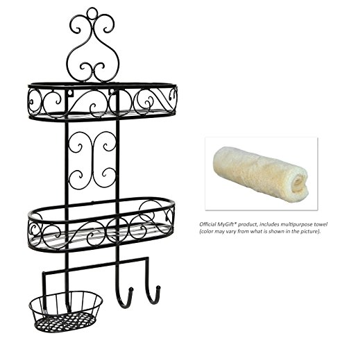 Beautiful 3-Tier Wall Mounted Black Metal Bathroom Organizer / Storage Rack w/ Towel Hooks - MyGift