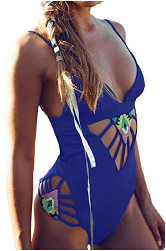 DH-MS Dress Women's Padded Hollow Out One Piece Swimsuit (Royal Blue)