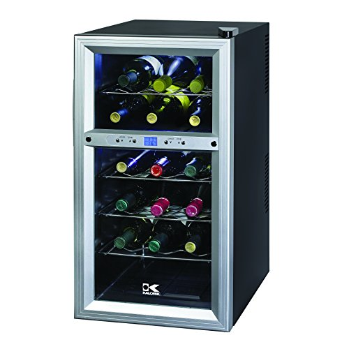 Kalorik Thermoelectric Dual-Zone 18-Bottle Ventilated Wine Cooler, Stainless Steel/Black (Under The Counter Kegerator compare prices)