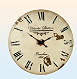 Wood Wall Clock XL Antique Nostalgia Retro Vintage Country House Style