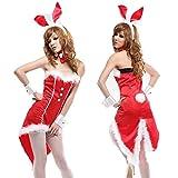 【Cos RuRu】 バニーガール ハロウィン仮装  燕尾服  クリスマス衣装 サンタ衣装  サンタコスチューム、豪華5点セット CR1168 (レッド)