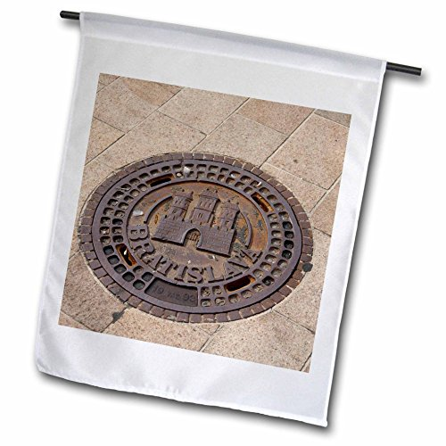 Danita Delimont - Slovakia - Slovakia, Bratislava, Manhole, coat of arms - EU42 CMI0054 - Cindy Miller Hopkins - 18 x 27 inch Garden Flag (fl_82856_2)