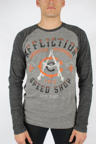 Affliction - Mens Ac Speed Ls Raglan Raglan T-Shirt In Heather Grey/Black, Size: Large, Color: Heather Grey/Black