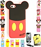 Bukit Cell ® 3D Cartoon Case Bundle - 4 items: MICKEY TAIL Cute Soft Silicone Case Cover for iPhone 5S 5 5G + BUKIT CELL Trademark Lint Cleaning Cloth + Screen Protector + METALLIC Stylus Touch Pen with Anti Dust Plug