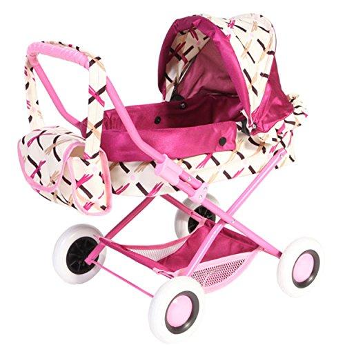 Puppenwagen Babywanne Spielzeug EWA (weiß rosa)