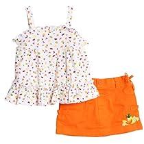 BT Kids Newborn Baby Girls 2 Piece White Knit Fruit Tank Top Orange Summer Skirt