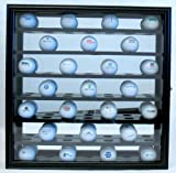 Golf Ball Collector Case Cabinet Black Wood Mirror Back Glass Front