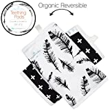 Kaydee Baby Organic Cotton Reversible Teething, Drool & Dribble, Chew Pads w/ Organic Fleece Inner Lining for Baby Carriers for Girls and Boys (Feathers) - 2 Pack