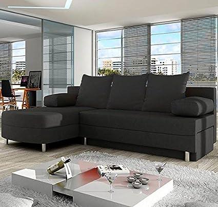 Muebles Bonitos – Sofá chaise longue modelo Alys Gris lado Izquierdo