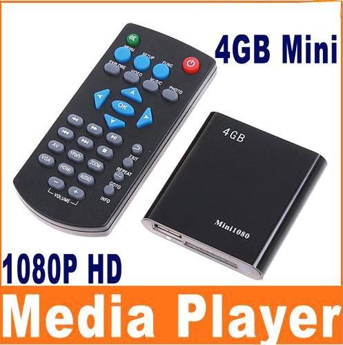 New Mini 4GB 4G 1080P MP3 MP4 HD HDMI SD USB 2.0 storage Media Player MKV RM RMVB AVI + Remote Black A/V out: CVBS, YPbPr, Stereo L/R Support TV system: NTSC/PAL