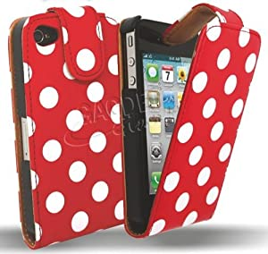 Gadget Giant APPLE IPHONE 4 4S PU Leather Flip Case / Cover / Protector Red White Polka Dot Dots Design & LCD Screen Protector