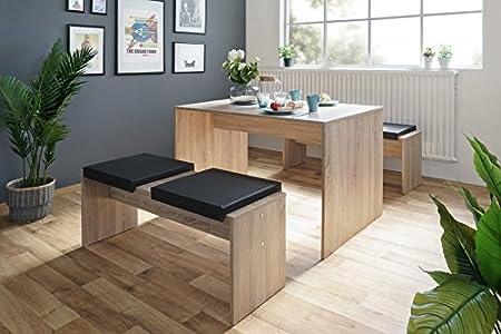 Essgruppe 'Flynn' Sitzgruppe Esszimmergarnitur Esstisch Tischgruppe Modern, Farbe:Sonoma Eiche