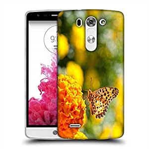 Snoogg Butterfly In Yellow Flower Designer Protective Phone Back Case Cover For LG G3 BEAT