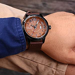 Gukos Mens Business Casual Fashion Analog Quartz Movement Wrist Watches Leather Band for Man Waterproof 30M Calendar Date Window as Gift (Color: Brown)