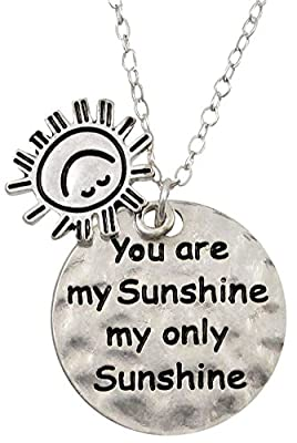 "Silver Tone Round Disc/Sunshine Charms ""You Are My Sunshine My Only Sunshine"" Necklace Women Teens Girls Valentine's Day Gift"