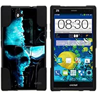 ZTE Grand X Max Case, Dual Armor Fusion STRIKE Impact Kickstand Case with Unique Designs for ZTE Grand X Max Z787, ZTE Grand X Max+ Plus (Cricket) from MINITURTLE | Includes Clear Screen Protector and Stylus Pen - Demon Cyborg