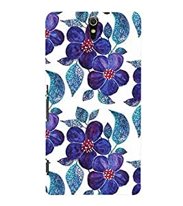 Printvisa Premium Back Cover Blue Floral Pattern Design For Sony Xperia C5 Ultra Dual::Sony Xperia C5 E5553 E5506::Sony Xperia C5 Ultra