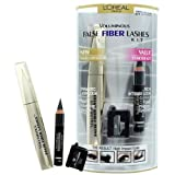 L'Oreal Voluminous False Fibre Lashes Mascara & Eyeliner Kit Blackest Black/Black 277