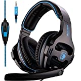 SADES SA810 Stereo Gaming Headset for PS4, PC, Xbox One Controller, Noise Isolating Over Ear Headphones with Microphone, Bass Surround, Soft Memory Earmuffs for Laptop Mac Nintendo Switch Games (Color: Black, Blue)