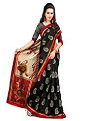 Inddus Women Black & Beige Color Art Silk Fashion Saree