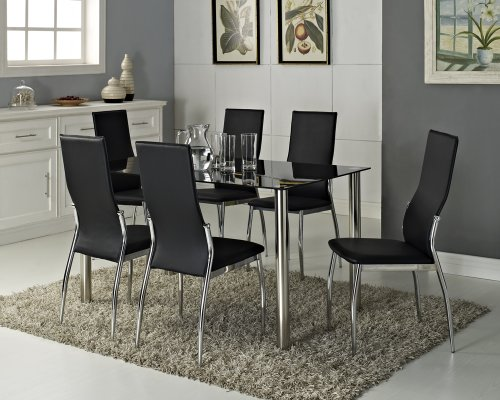 Black Glass Rectangle 6 Seater Dining Table Set with 6 Faux Leather Chairs Chrome