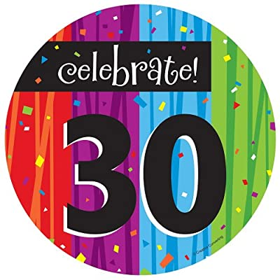 Creative Converting Milestone Celebrations Round Dessert Plates, 8-Count, Celebrate 30