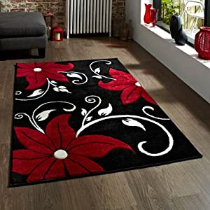 Think Rugs Verona OC15 Heat Set Yarn Hand Carved Rug, Black/Red, 80 x 150 Cm from Think Rugs