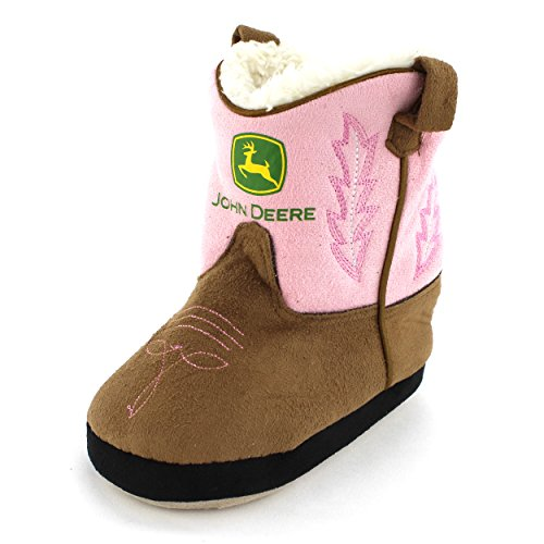 John Deere Little Girls Cowgirl Boot Slippers (5-6 M US Toddler, Cowgirl Pink)