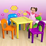 Children and Kids Table and Chairs Set | Includes 4 Plastic Chairs and 1 Art Craft Study Activity Table - Living Room Furniture - Picnic Table - Educational Learning Set - BPA FREE