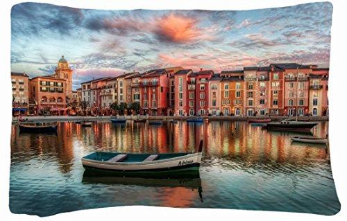Microfiber Peach Queen Size Decorative Pillowcase -City City River Boat front-846353