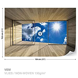 Window Sky Clouds Sun Nature - Photo Wallpaper - Wall Mural - EasyInstall Paper - Giant Wall Poster - M - 104cm x 70.5cm - EasyInstall Paper - 1 Piece by Consalnet