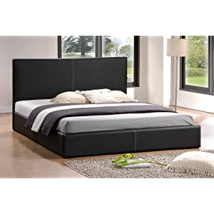 amazon simple bett bond leder bett lederbett schwarz lattenrost in 140x200 cm g stebett. Black Bedroom Furniture Sets. Home Design Ideas