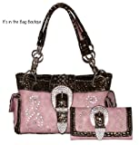 Montana West - Concealed Carry Rhinestone Purse with Matching Wallet - Pink