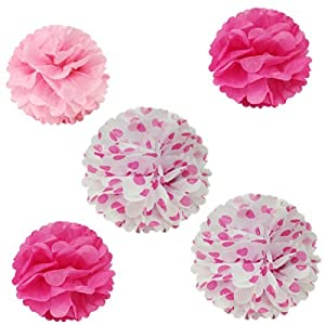 Allydrew 12 & 8 Set of 5 Tissue Pom Poms Party Decorations for Weddings, Birthday Parties Baby Showers and Nursery Dcor, Hot Pink & Polka Dots by AllyDrew