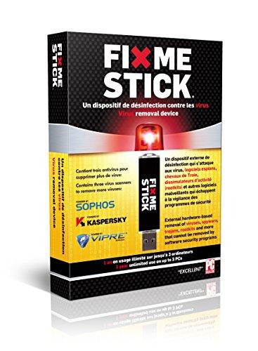 photo FixMeStick Logiciel antivirus/spyware/malware/trojan pour les infections de Microsoft Windows avec les logiciels Kaspersky Sophos et VIPRE Licence pour 3 ordinateurs