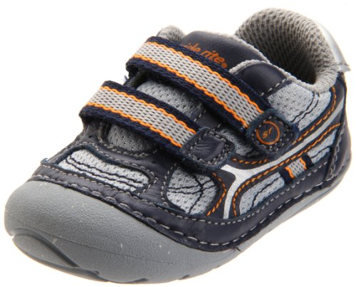 Stride Rite SRT SM Enzo First Walker (Infant/Toddler),Grey/Navy/Storm,5 W US Toddler